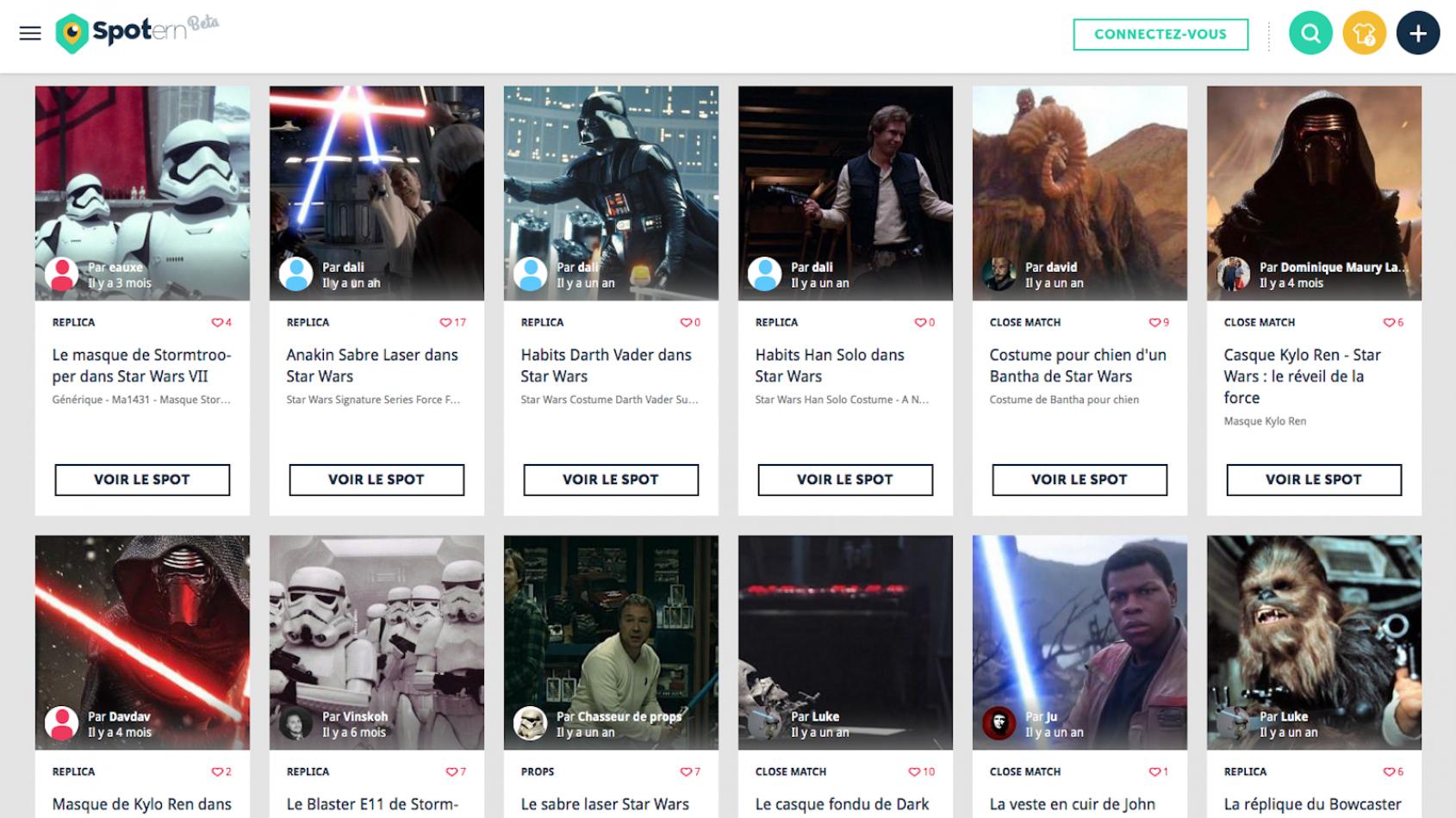 Spotern référence les produits vus dans Star Wars avec PSW