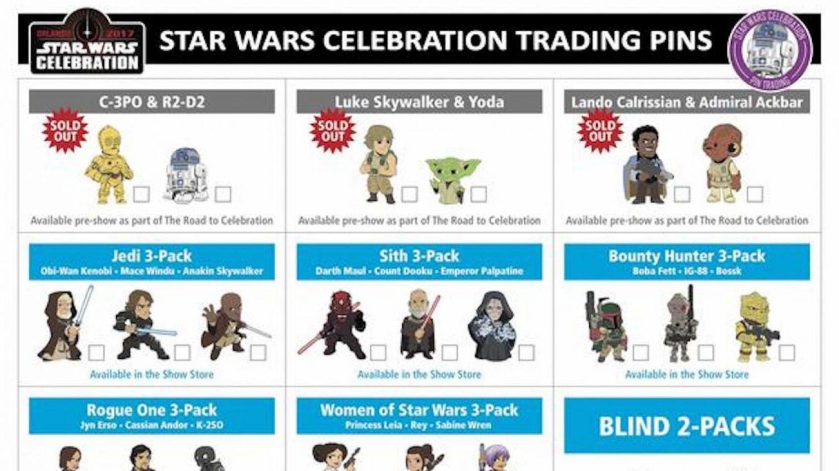 Liste complète des pins de la Star Wars Celebration 2017